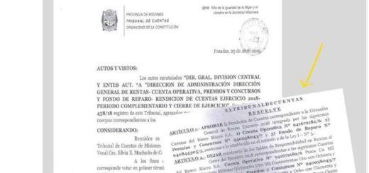 El Tribunal de Cuentas aprobó el ejercicio fiscal 2018 de Rentas