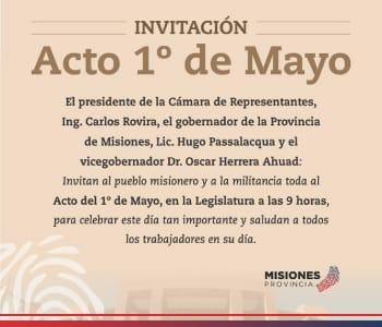 Invitan a participar del Acto del 1 de Mayo en la Legislatura, mañana a las 9