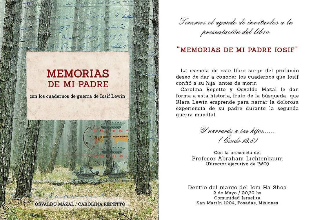 """Posadas: el próximo 2 mayo, presentarán en la Comunidad Israelita el libro """"Memorias de mi Padre"""""""