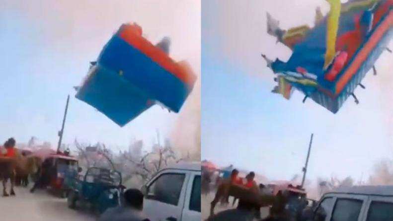 Tragedia en China: un violento tornado hizo volar un castillo inflable y dos nenes murieron
