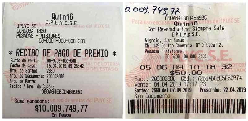 Mecánico santafesino vino a Posadas de compras, jugó por segunda vez al Quini 6 y es millonario
