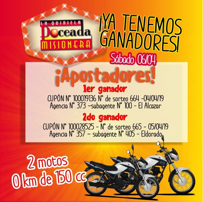 En El Alcázar y Eldorado se ganaron motos de la Poceada