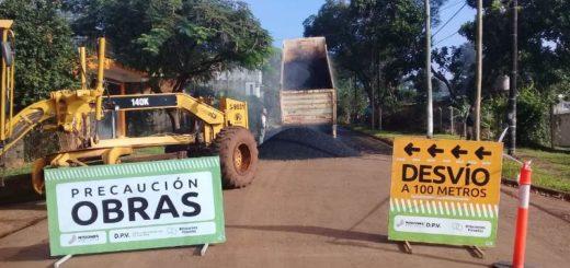 Posadas: avanzan en obras de pavimento sobre empedrado y seguridad vial