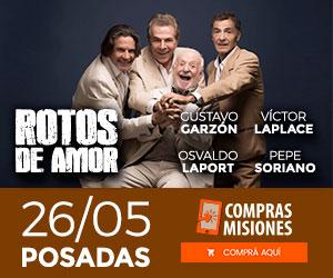 Teatro nacional en Posadas: Garzón, Laplace, Laport y Soriano harán Rotos de Amor…Ingresá aquí y adquirí las entradas por Internet
