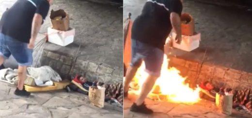 Indignante: se bajó del auto y prendió fuego a dos personas en situación de calle
