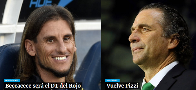 Beccacece y Pizzi a un paso de Independiente y San Lorenzo