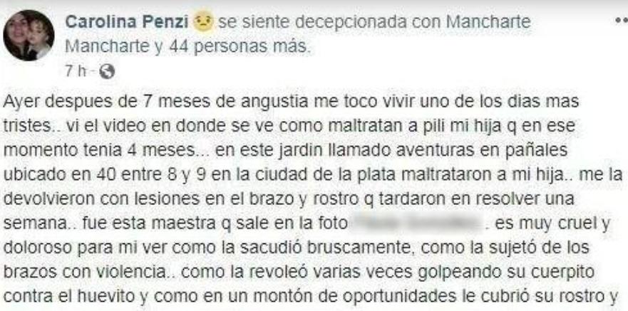 Habló mamá de la beba maltratada en una guardería de La Plata: «La encontré con heridas y toda la cara roja»