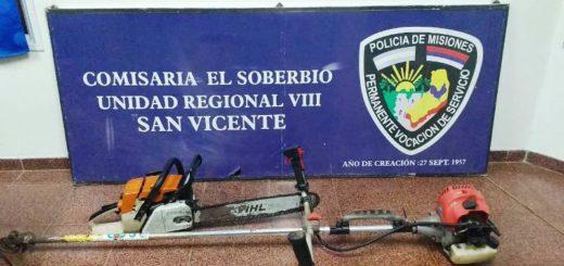 La Policía detuvo a un joven y recuperó elementos robados de una propiedad en El Soberbio