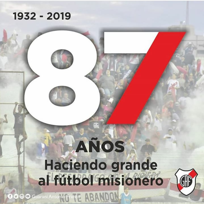 El club Guaraní Antonio Franco celebra sus 87 años