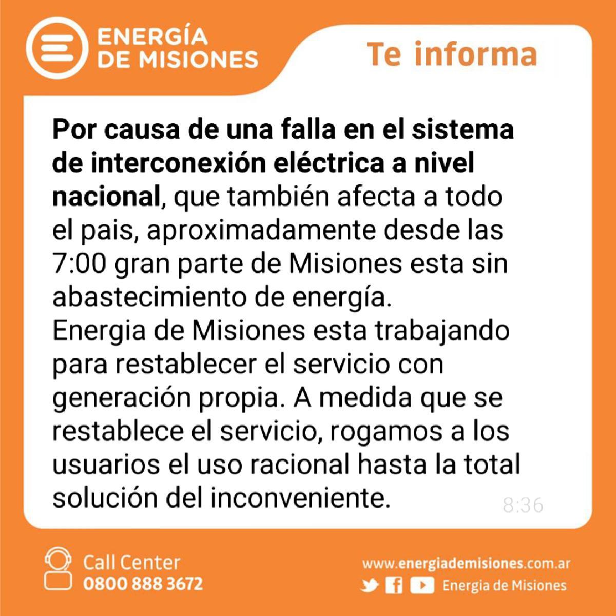 Apagón: Energía de Misiones informa que trabaja para restablecer el servicio con generación de energía propia
