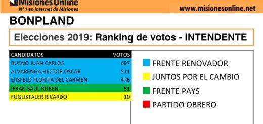 Elecciones2019: vea cómo quedó el ranking de candidatos a intendente de Bonpland