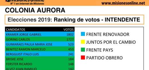 Elecciones2019: vea cómo quedó el ranking de candidatos a intendente de Colonia Aurora