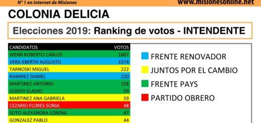 Elecciones2019: vea cómo quedó el ranking de candidatos a intendente de Colonia Delicia