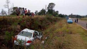 Campo Grande: familia lesionada al despistar con su auto sobre Ruta Provincial 8