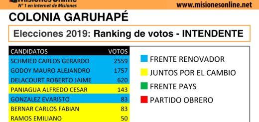 Elecciones2019: vea cómo quedó el ranking de candidatos a intendente de Garuhapé