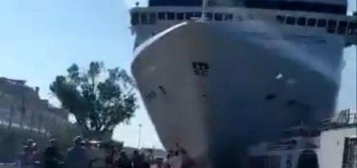 Video: un crucero chocó con un barco turístico en Venecia y hay cuatro heridos