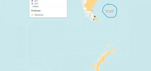 """El gobierno nacional publicó un mapa que llama """"Falkland"""" a las Islas Malvinas"""