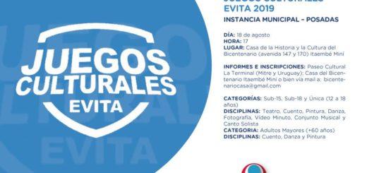 Están abiertas las inscripciones para la instancia local de los Juegos Culturales Evita 2019
