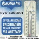 Ante la #OlaPolar la Municipalidad de Posadas también realiza campañas solidarias para ayudar a las personas en condición de calle