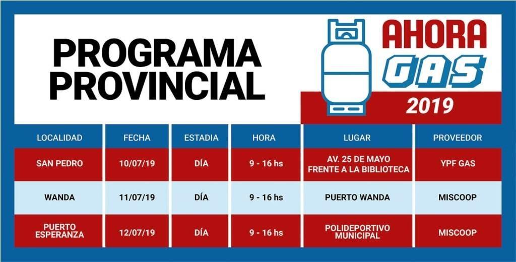 Cronograma del #AhoraGas del 10 al 12 de Julio en distintas localidades de Misiones