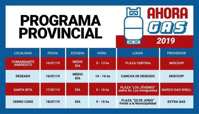 El programa #AhoraGas visitará esta semana Andresito, Deseado, Santa Rita y Cerro Corá