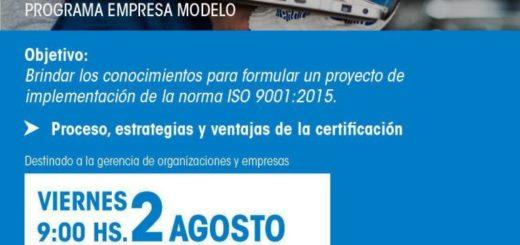 """Se realizará la charla: """"Mi primera certificación ISO 9001:2015"""""""