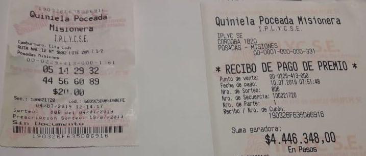 Rescató el ticket de la basura para cobrar los millones que se ganó con la Quiniela Poceada