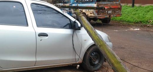 Se le cayó un poste sobre el auto y acusa a su vecino que estaba cortando un árbol en el patio lindante