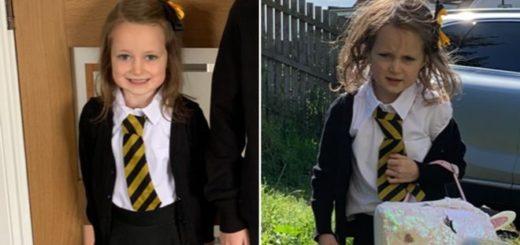 Viral: la foto del antes y el después de una niña en su primer día de clases