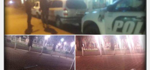 Oberá: un vehículo colisionó dos pilares de metal y un farol de luz en el centro Cívico, se dio a la fuga y su conductor fue detenido