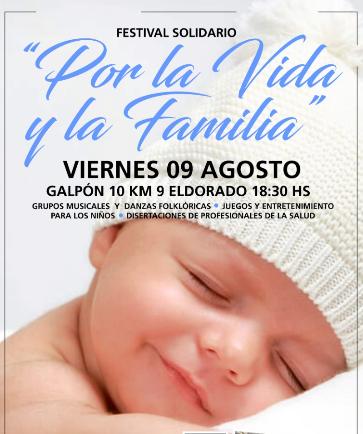 """Eldorado: este viernes se realizará el festival solidario """"Por la Vida y la Familia"""""""