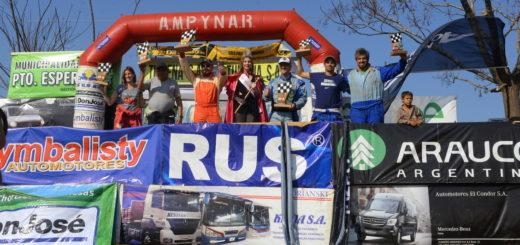 Lisandro Vidal Rodríguez, Adrián Sansaloni y Giuliano De Paola, los ganadores del rally de Wanda