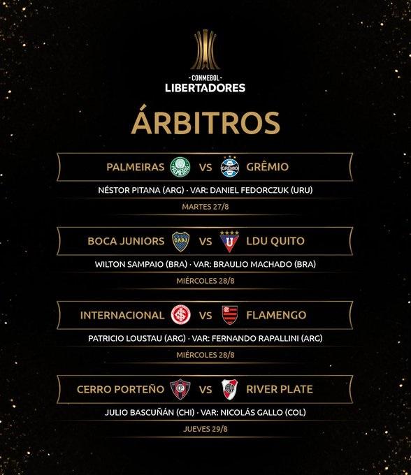 Pitana arbitrará el duelo final entre Palmeiras y Gremio que buscan llegar a las semifinales de la Libertadores 2019