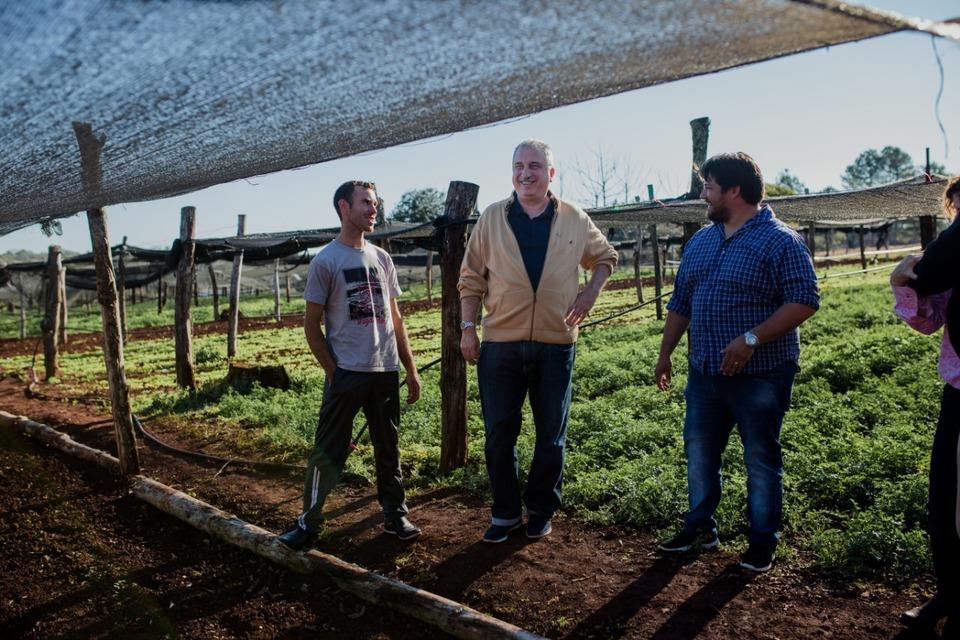 Passalacqua visitó una chacra donde realizan cultivos bajo cubierta en Roca Chica