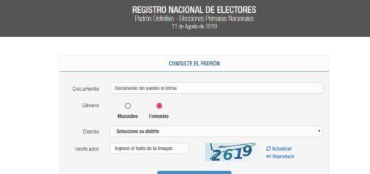 Consultá el padrón para saber donde votar en las PASO del próximo 11 de Agosto