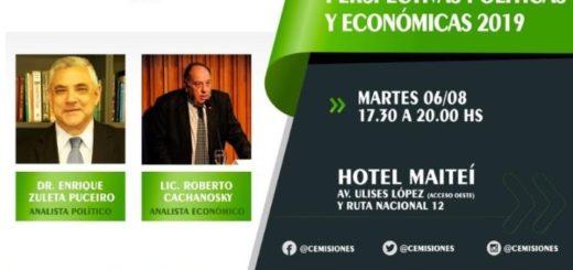 """Con prestigiosos disertantes, mañana se realizará el evento """"Perspectivas Políticas y Económicas 2019"""" en Posadas"""