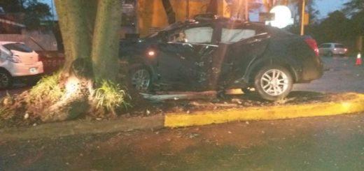 Jóvenes conductores terminaron lesionados en un choque ocurrido esta mañana en Posadas