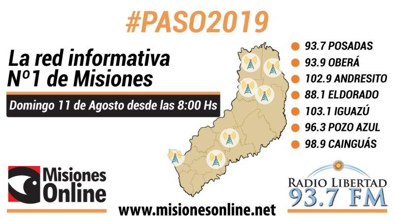 Misiones Online y las 7 emisoras de Radio Libertad realizarán una cobertura conjunta de las PASO durante todo el domingo