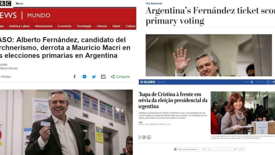 Medios del mundo reflejan el triunfo de Alberto Fernández en las PASO