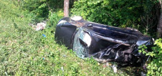 Despiste y vuelco en la Ruta 14 dejó como saldo dos personas heridas