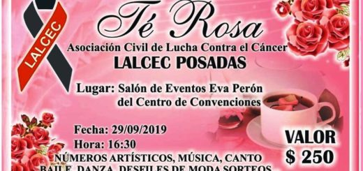 """Lalcec Posadas realizará a las 16:30 en el Centro del Conocimiento el tradicional """"Té Rosa solidario"""""""