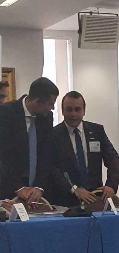 El gobernador electo de Misiones Oscar Herrera Ahuad, en reuniones en el Departamento de Estado y la OEA en Estados Unidos