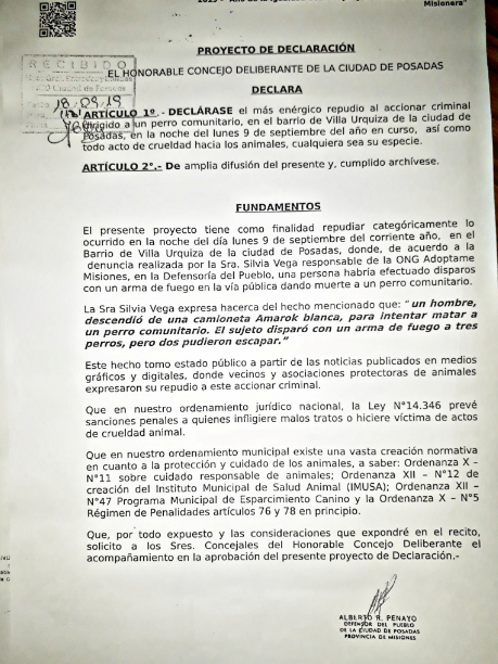 Concejales aprobaron por unanimidad el Proyecto de Repudio al accionar criminal contra Lobito, el perro asesinado en Villa Urquiza
