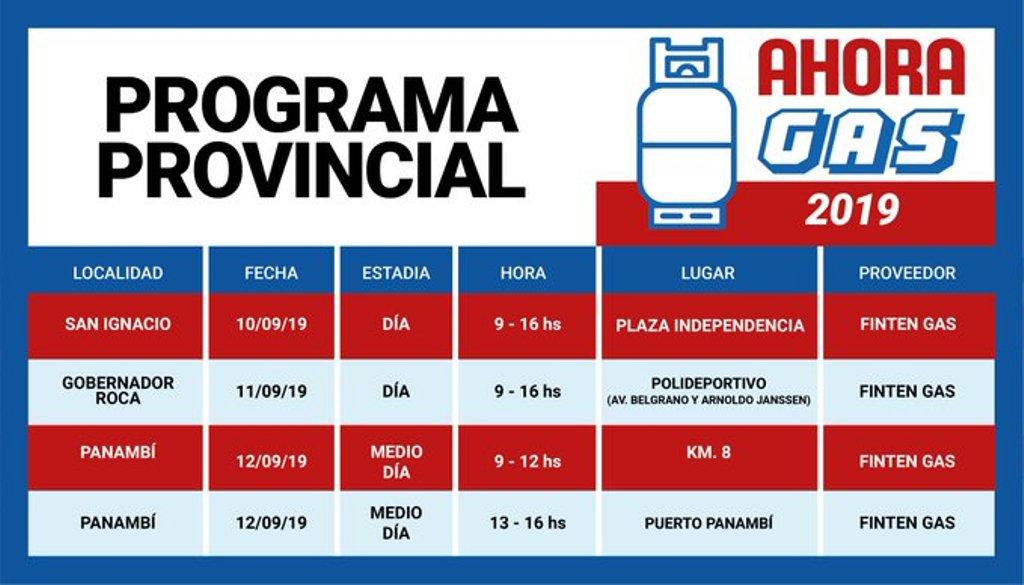 #AhoraGas estará hoy en San Ignacio, Roca y Panambí