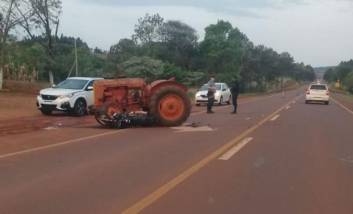 Un tractor y una moto protagonizaron un accidente sobre ruta 14: hay un herido