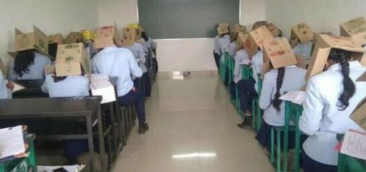 Una profesora les pidió a sus alumnos que usen cajas en la cabeza para evitar que se copiaran en un examen
