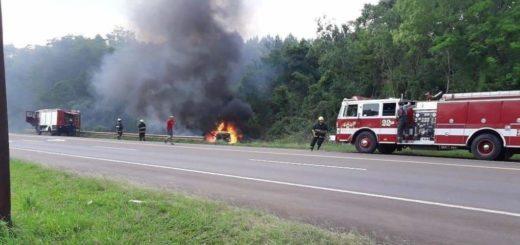Cerro Azul: por desperfecto mecánico, las llamas consumieron por completo un automóvil