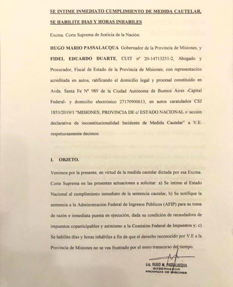 IVA y Ganancias: Passalacqua solicitó a la Corte Suprema que intime a la Nación al cumplimiento de la medida cautelar