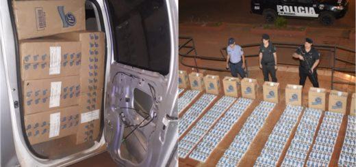 """""""Cigarrilleros"""" huyeron a los tiros por Jardín América en una camioneta robada y la abandonaron con millonario cargamento"""