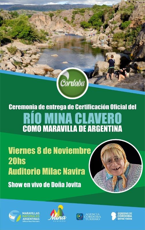El Río Mina Clavero será certificado como una de las 7 Maravillas Naturales Argentinas